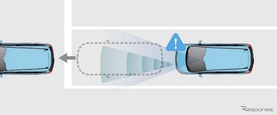 「先行車発進お知らせ機能」。停車しているとき、先行車が発進したことを知らせる
