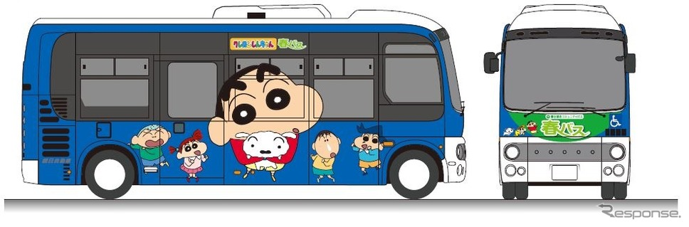 春日部市のコミュニティバスでも「しんちゃん」のラッピングバスが運行される。《クレヨンしんちゃん25周年記念プロジェクト実行委員会》