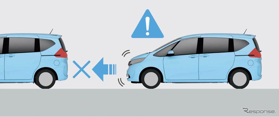 「誤発進抑制機能」。アクセルの踏み間違えなどで起こる不注意による急発進を防止し注意を喚起
