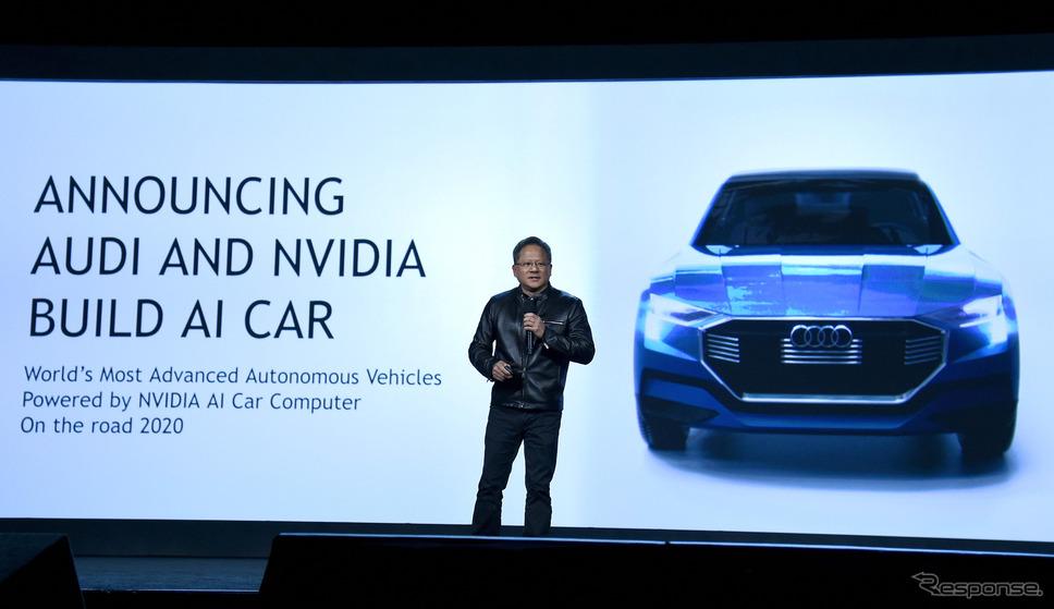 CES 2017でスピーチするNVIDIAの共同創設者で社長兼CEOのジェンスン・フアン氏。 (c) Getty Images