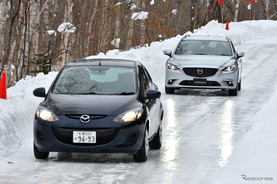 凍結した路面でi-ACTIV AWDを体験《撮影 雪岡直樹》