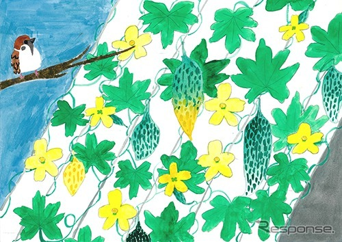 銅賞「日差しをさえぎる鳥もうらやむゴーヤのカーテン」大橋萌加さん(5年生)