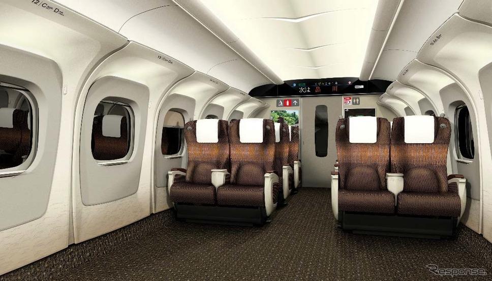 「N700S」グリーン車内のイメージ。荷物棚を座席ごとに分けるY。《出典 東海旅客鉄道》