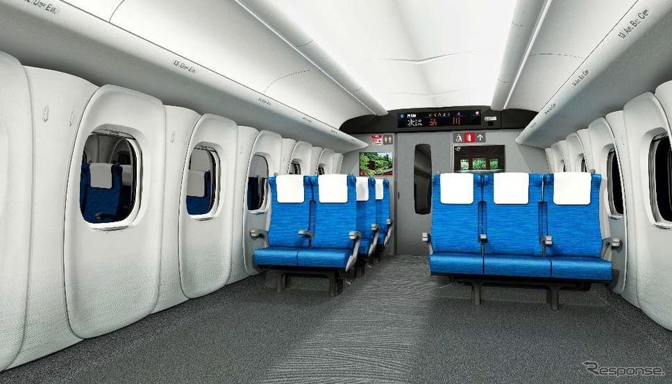 「N700S」普通車のイメージ。全ての座席にコンセントが設けられる。《出典 東海旅客鉄道》