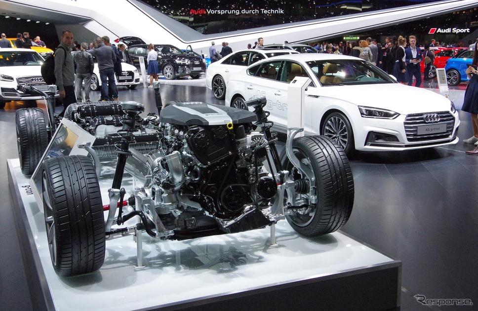 アウディ A5 g-tron とパワートレインのカットモデル(ジュネーブモーターショー2017)《撮影 宮崎壮人》