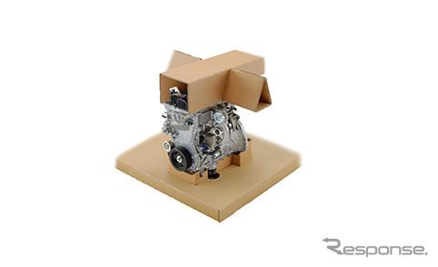 段ボール材によるエンジン固定の受け材