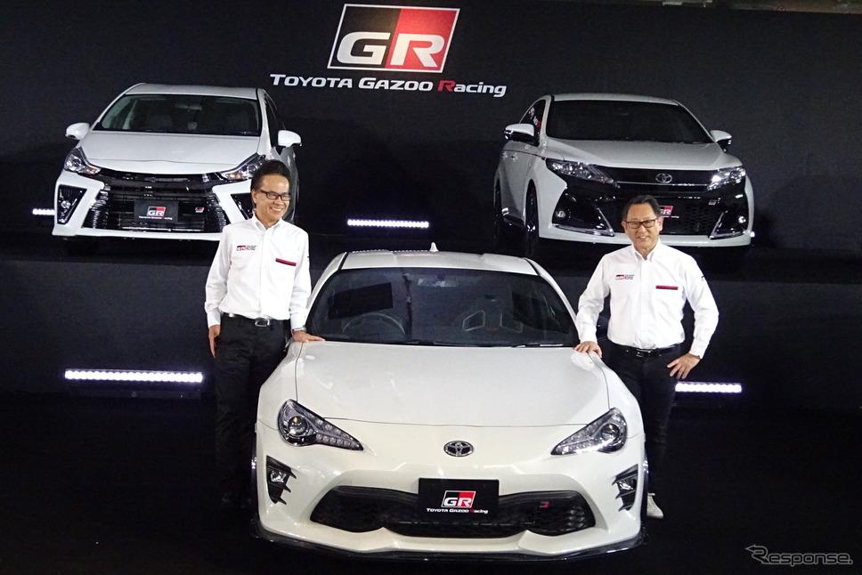 GRシリーズ発表会 豊田章男社長(右)と友山茂樹専務《撮影 池原照雄》