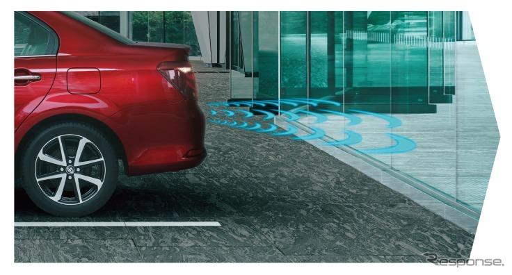 トヨタ カローラアクシオ インテリジェントクリアランスソナー(パーキングサポートブレーキ)作動イメージ(1、踏み間違い発生)