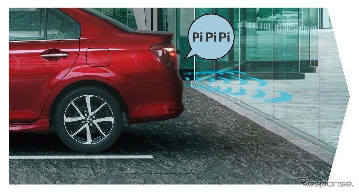 トヨタ カローラアクシオ インテリジェントクリアランスソナー(パーキングサポートブレーキ)作動イメージ(2、エンジン/ハイブリッドシステム出力抑制)