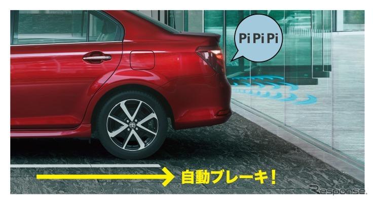トヨタ カローラアクシオ インテリジェントクリアランスソナー(パーキングサポートブレーキ)作動イメージ(3、ブレーキ制御)