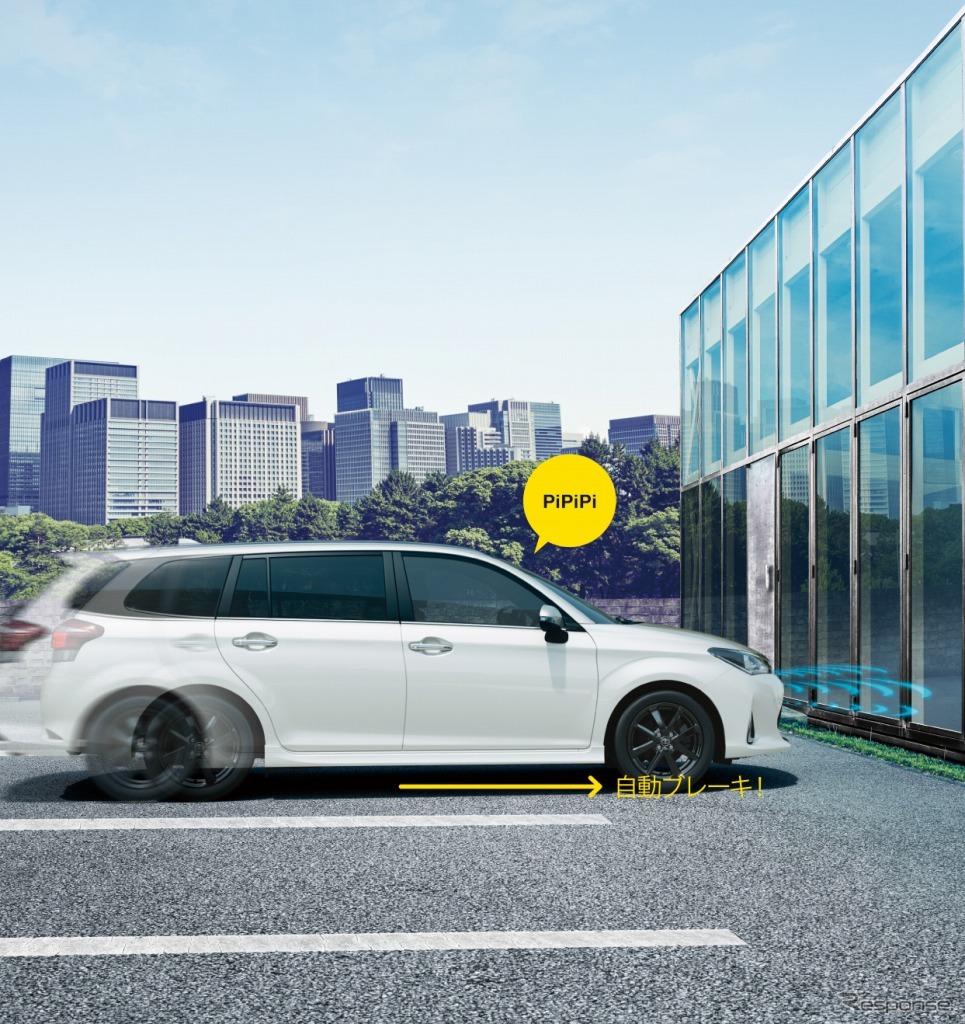 トヨタ カローラフィールダー インテリジェントクリアランスソナー(パーキングサポートブレーキ)作動イメージ