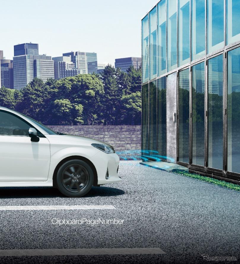 トヨタ カローラフィールダー インテリジェントクリアランスソナー(パーキングサポートブレーキ)作動イメージ(1、踏み間違い発生)