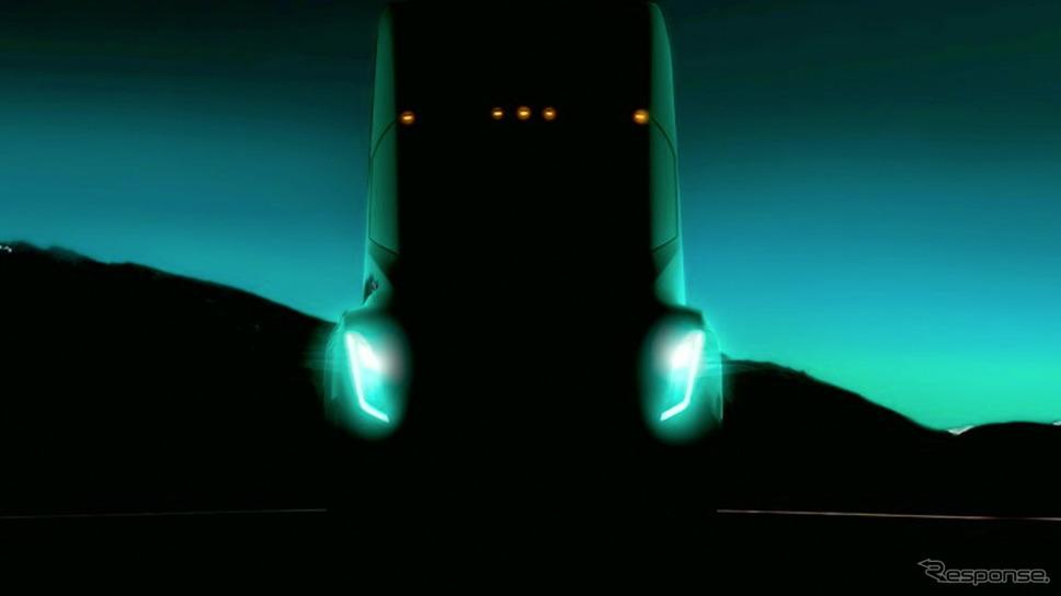 テスラ初のEVトラックの予告イメージ