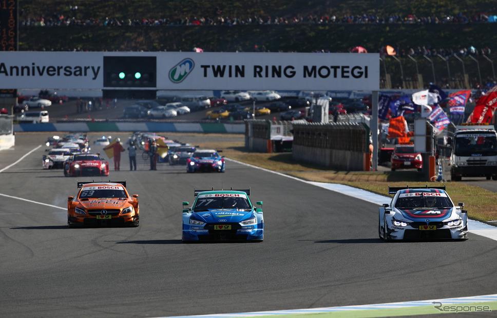 DTMマシン3台(左からメルセデス、アウディ、BMW)は、SUPER GT決勝のパレードラップにも参加するなどした。《撮影 益田和久》