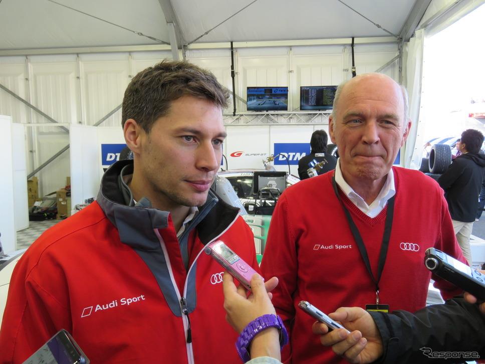 デュバル、そして右はアウディのWEC-LMP1陣営を率いるなどしていたW.ウルリッヒ氏。《撮影 遠藤俊幸》
