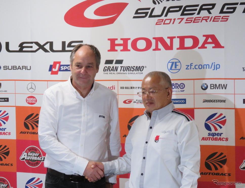 ITRのベルガー チェアマンも来日、GTAの坂東代表と共同会見を実施した。元マクラーレン・ホンダのF1ドライバーでもあるベルガー氏の日本での人気は、今も相当なもの。《撮影 遠藤俊幸》