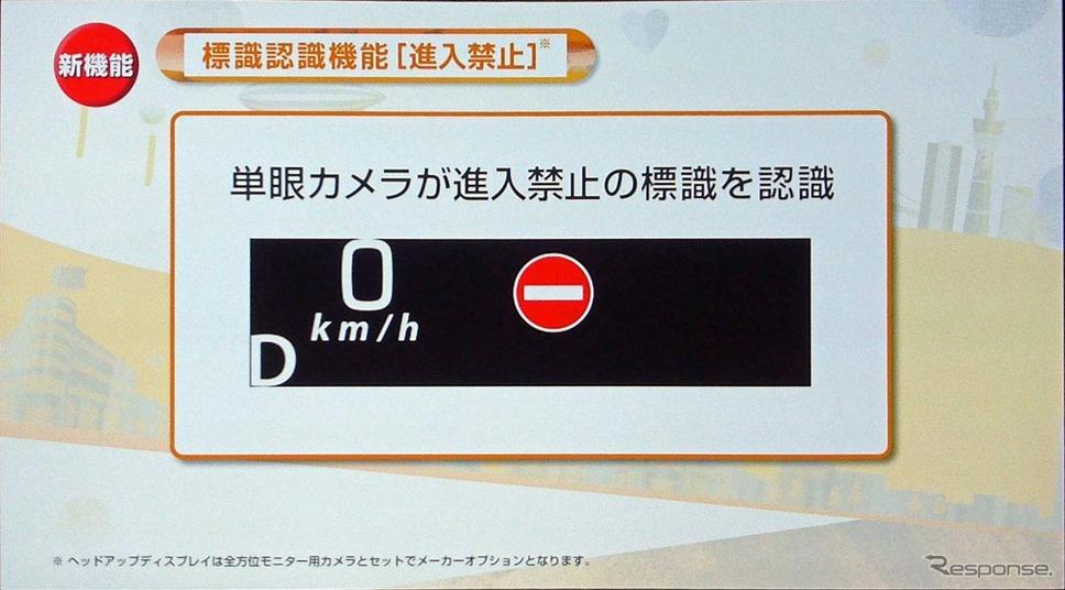 カメラが進入禁止の標識を読み取りヘッドアップディスプレイに表示する