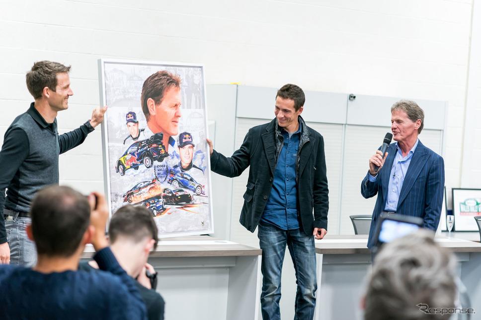 2017年11月、Mスポーツ本拠でのプレスカンファレンスにて(左からオジェ、イングラシア、M.ウィルソン)。《写真提供 Red Bull》