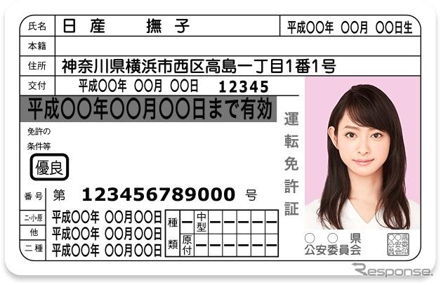 ナデシコピンク ID-PHOTOの運転免許証(イメージ)。持ち込み写真不可の都道府県もあるので注意。