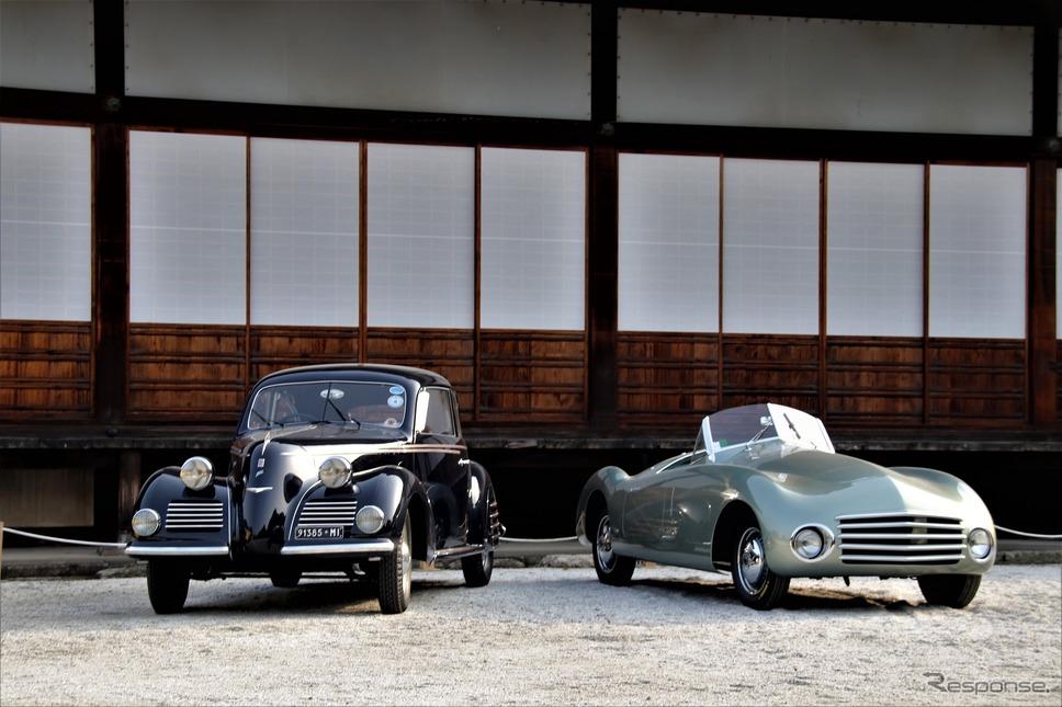 Early Cars to 1951(1951年以前に作られた中で最も優れているクルマ)…1946年フィアット1100フルアスパイダー(右)とPremio Sakura(春の二条城に最も似合う車)…1939年フィアット1500トゥーリング(左)《撮影  内田俊一》