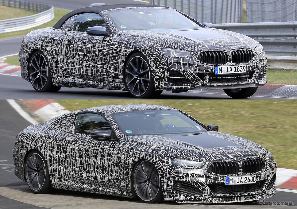 BMW M850i カブリオレ(上段)とクーペ(下段)をスクープ。フロントマスクのデザインにも差別化が見られる《APOLLO NEWS SERVICE》