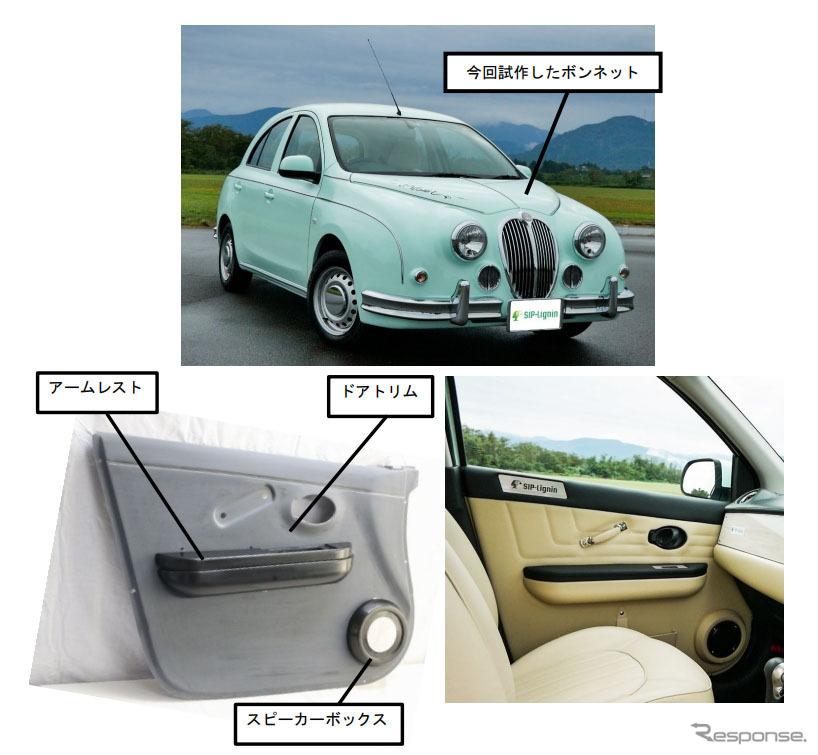 部品を装着した小型車の外観と内装