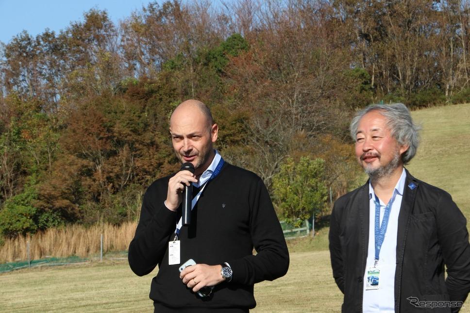 マセラティジャパン代表取締役のグイド・ジョバネッリ氏(左)ととマセラティクラブオブジャパン会長の越湖信一氏(右)《撮影  内田千鶴子》