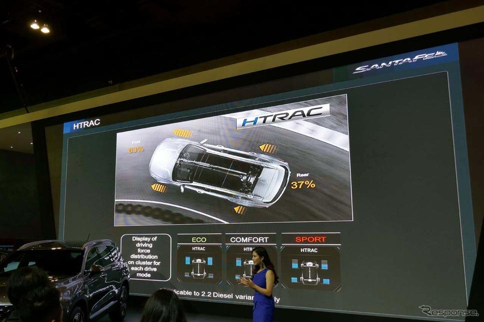新型サンタフェ。3つのドライブモードを備えた「HTRAC」により、最適なトラクションが得られる。《撮影 会田肇》