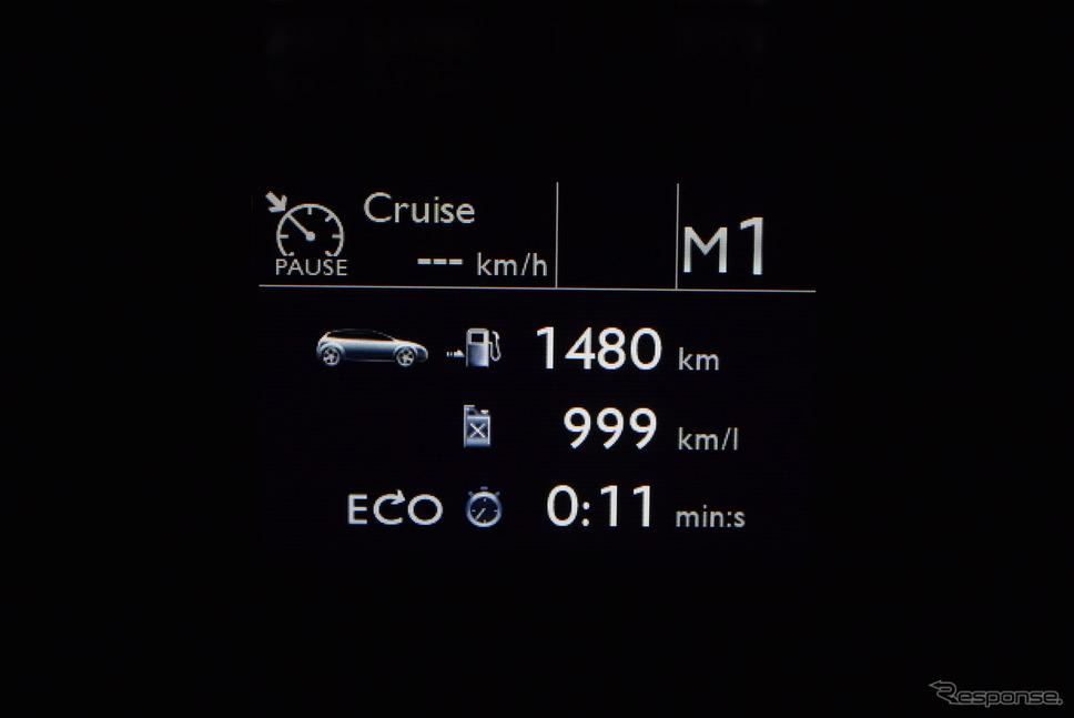 低燃費で走ると航続残が1500km近くに。エコランを頑張れば鹿児島まで無給油で届く可能性は十分にある。《撮影 井元康一郎》