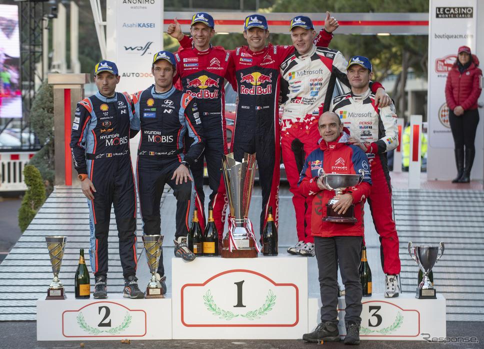 WRC開幕戦モンテカルロの表彰式。《写真提供 Red Bull》