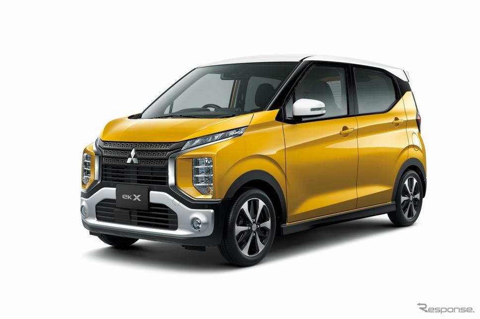 三菱eKクロス新型。三菱のSUVシリーズに共通のデザインが採用されている