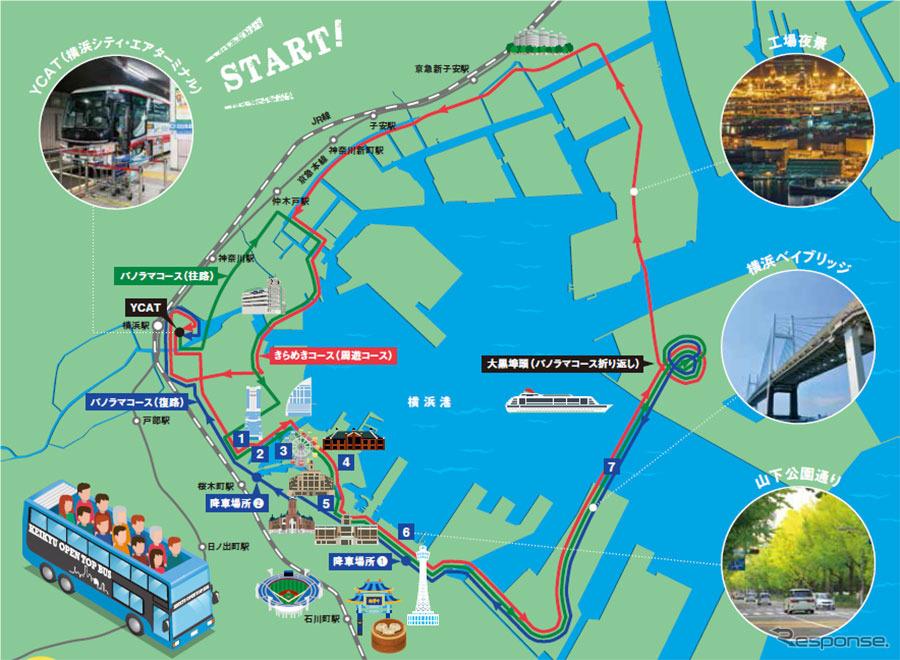 横浜・みなとみらい地区の都心臨海部を周遊するルート
