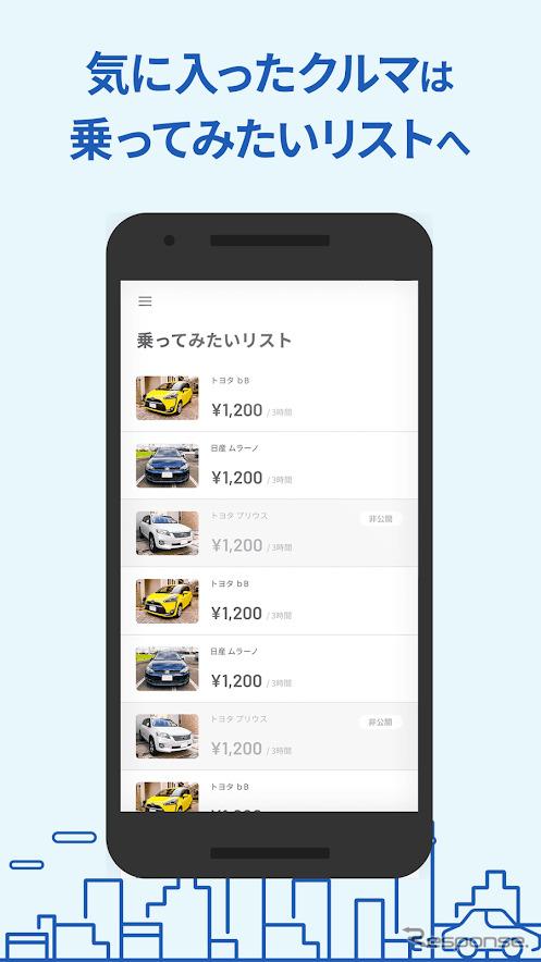 個人間カーシェア「GO2GO」アプリ