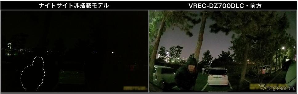 夜間の走行、駐車監視時でも好感度・高画質に録画できる「ナイトサイト」搭載