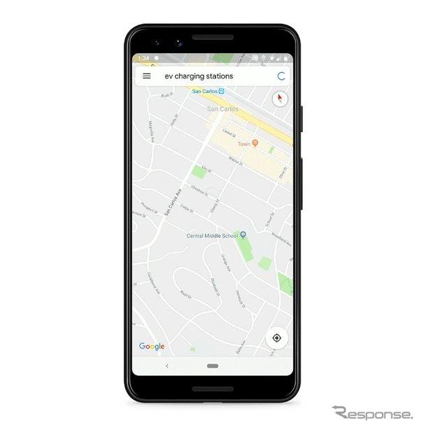 グーグルマップが電動車向けに最寄りの充電ステーションの空き情報を表示