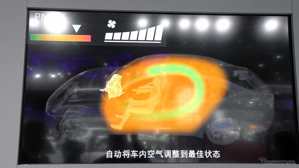 内気循環で車内の空気を浄化し、1分ほどで車内はクリーンになる