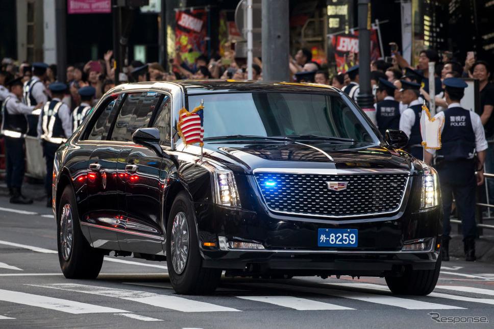 東京を走る米大統領専用車。(c) Getty Images