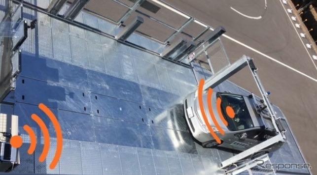 機械式駐車場における自動運転車両の駐車実証実験《画像 新明和工業》
