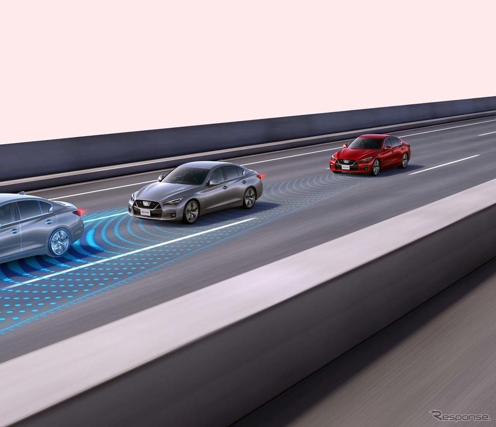 設定した速度より遅い先行車を検知すると、追い越しを提案してくる《画像 日産自動車》