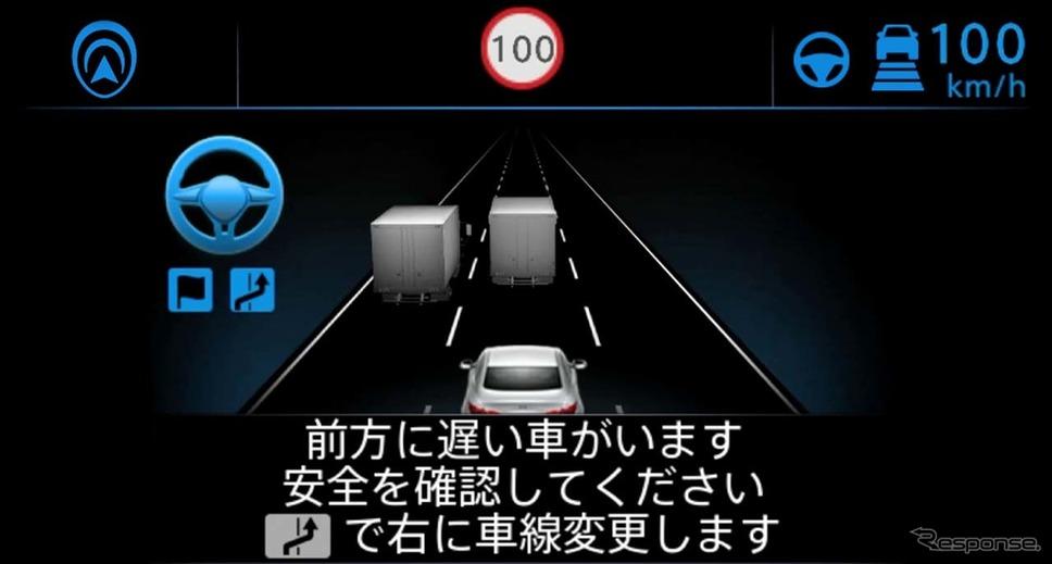 先行車に追いついて追い越しを提案した時のディスプレイ表示。ここまでは手放し運転《画像 日産自動車》