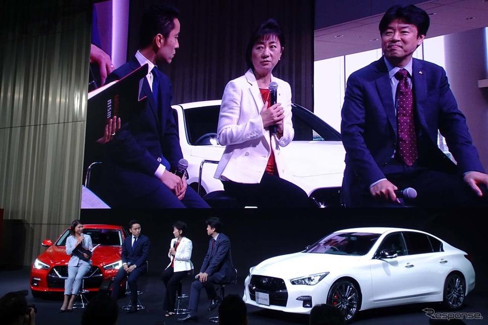 新型スカイラインの発表会には、フェンシングの銀メダリストの太田雄貴氏がアンバサダーとして出席した《撮影 会田肇》