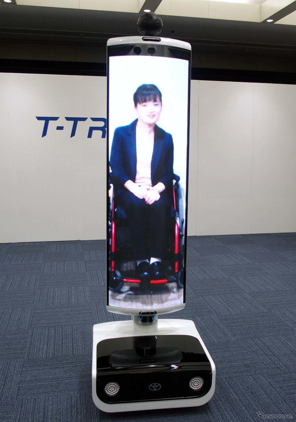 遠隔地間コミュニケーションサポートロボット「T-TR1」。ほぼ等身大のディスプレイが装備される