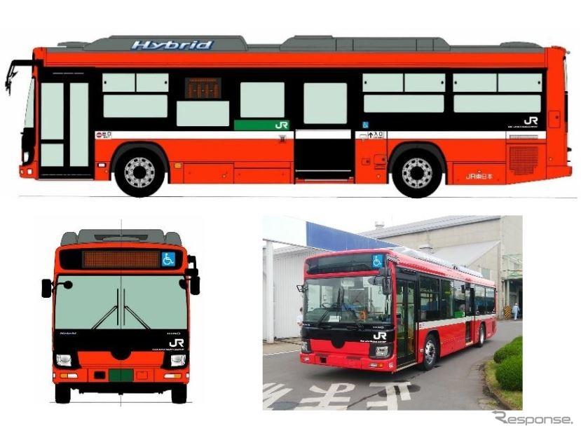 大船渡、気仙沼の両BRTに投入される日野自動車製の新車両。《出典 東日本旅客鉄道盛岡支社》