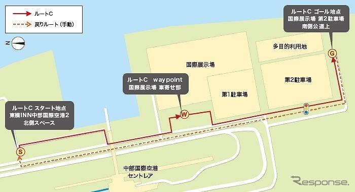 9月2〜4日の自動運転車の走行ルート《画像 NTTドコモ》