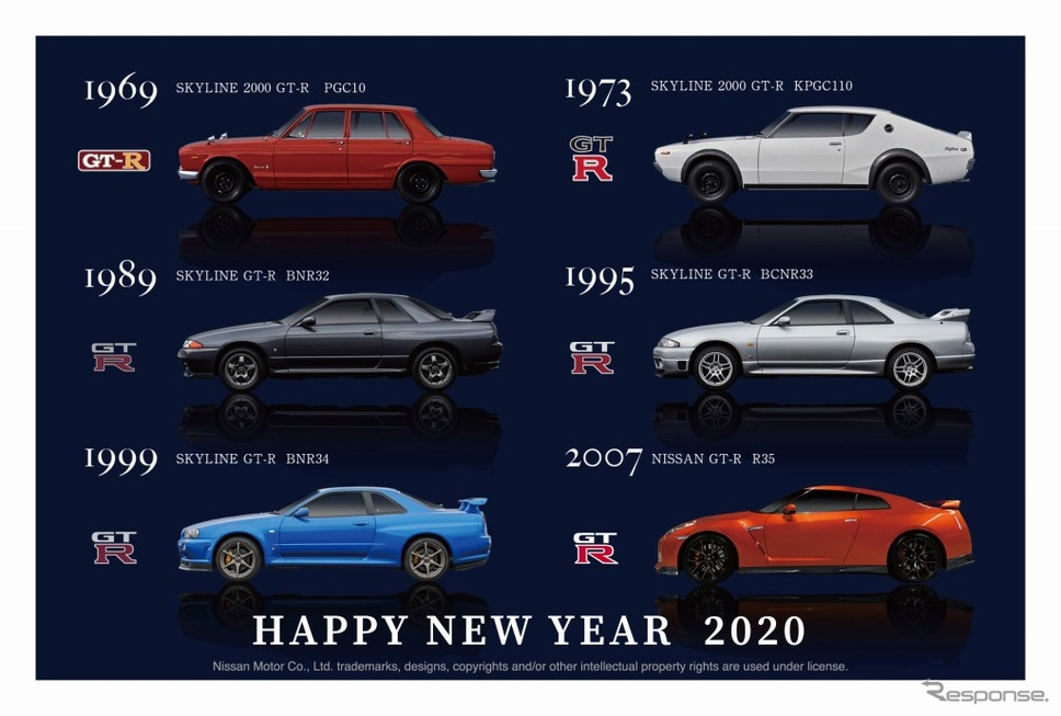 「GT-R」と「フェアレディZ」の年賀状が郵便局の総合印刷サービス(WEB)から発売《画像:日産自動車》
