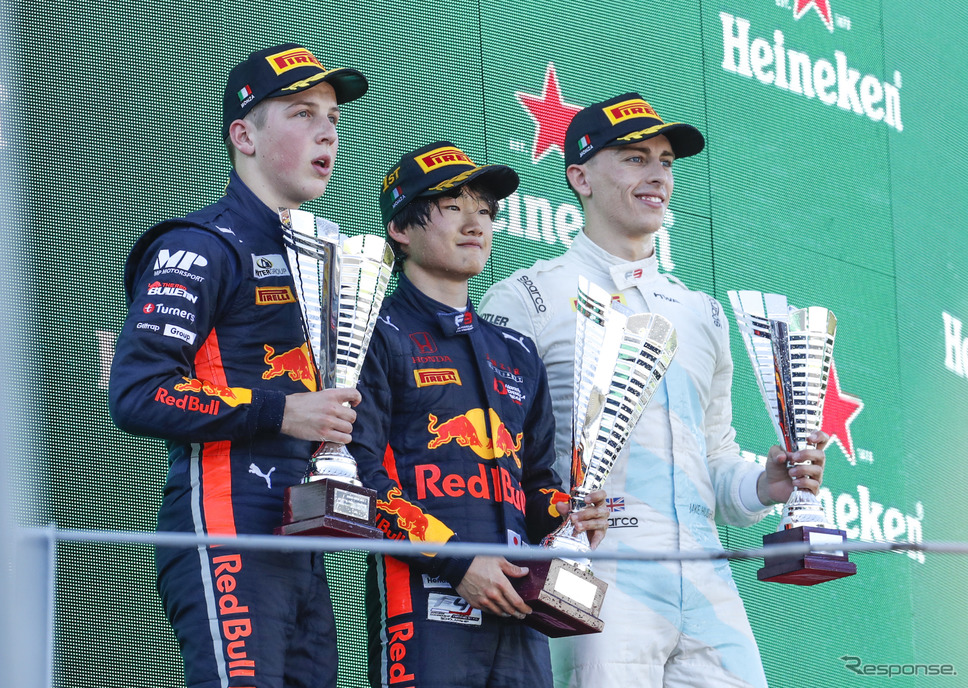 FIA-F3モンツァ大会のレース2で#14 角田裕毅が初優勝。《写真提供 Honda》