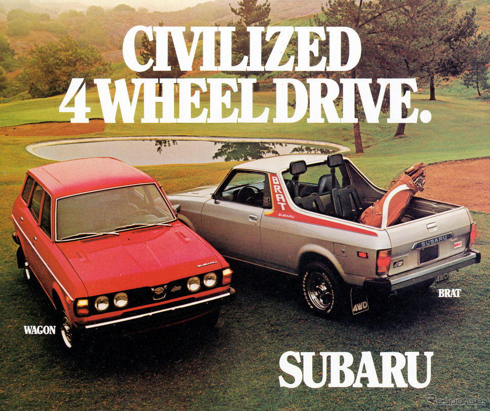 "1978年に発売されたBRATの広告、""Civilized 4 Wheel Drive""。《photo by SUBARU》"