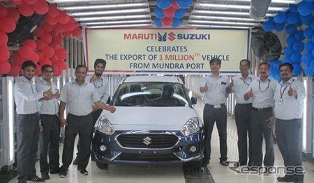 マルチスズキのインド・グジャラート州マンドラ港からの輸出100万台目となったディザイア《photo by Suzuki》