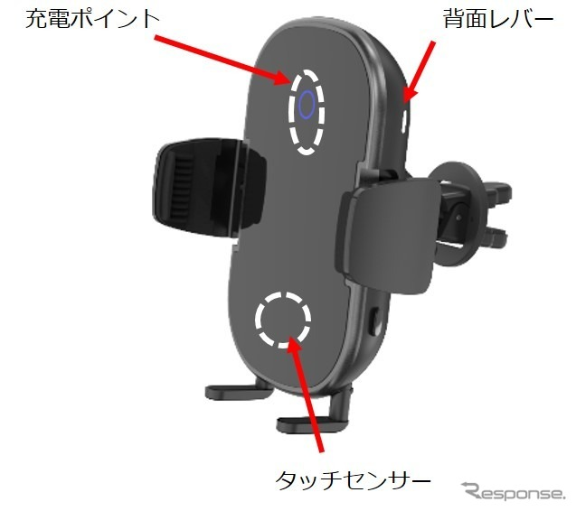 オートバックス AQ. 自動開閉式ワイヤレス充電スマホホルダー《画像:オートバックスセブン》