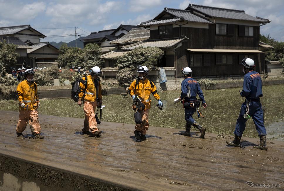 平成30年7月豪雨(7月10日、岡山県、倉敷市)《photo (c) Getty Images》